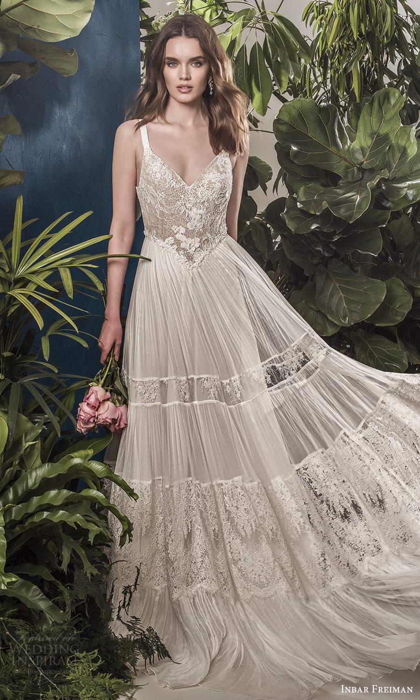 inbar freiman 2021 bridal sleeveless straps v neckline embellished lace bodice pleated skirt boho a line wedding dress scoop back sweep train (10) mv