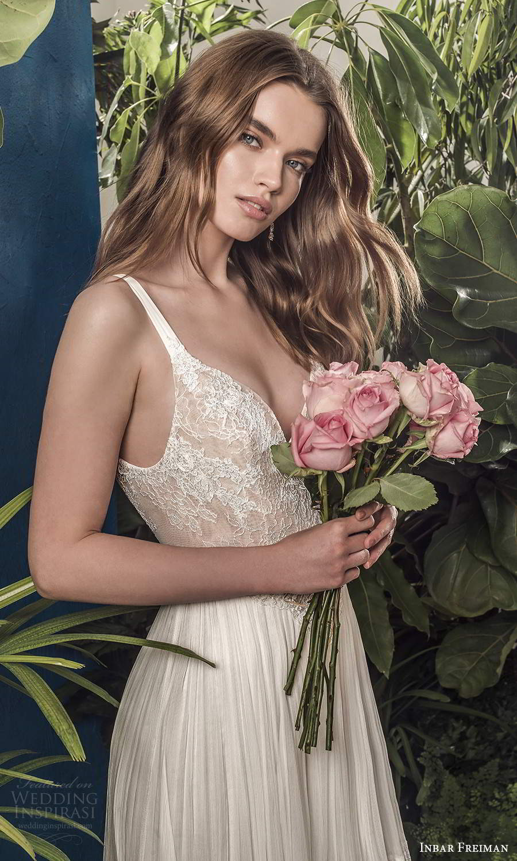 inbar freiman 2021 bridal sleeveless straps v neckline embellished lace bodice pleated skirt boho a line wedding dress scoop back sweep train (10) zv