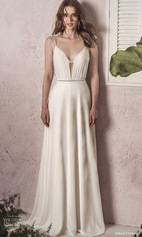 inbar freiman 2021 bridal sleeveless thin straps plunging v neckline clean minimalist a line wedding dress sheer back chapel train (11) mv