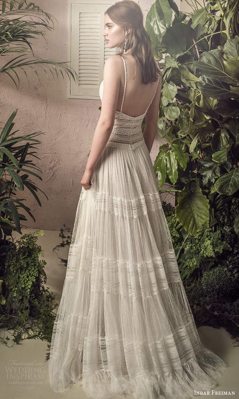 inbar freiman 2021 bridal sleeveless thin straps v neckline fully embellished lace boho a line wedding dress sweep train (7) bv