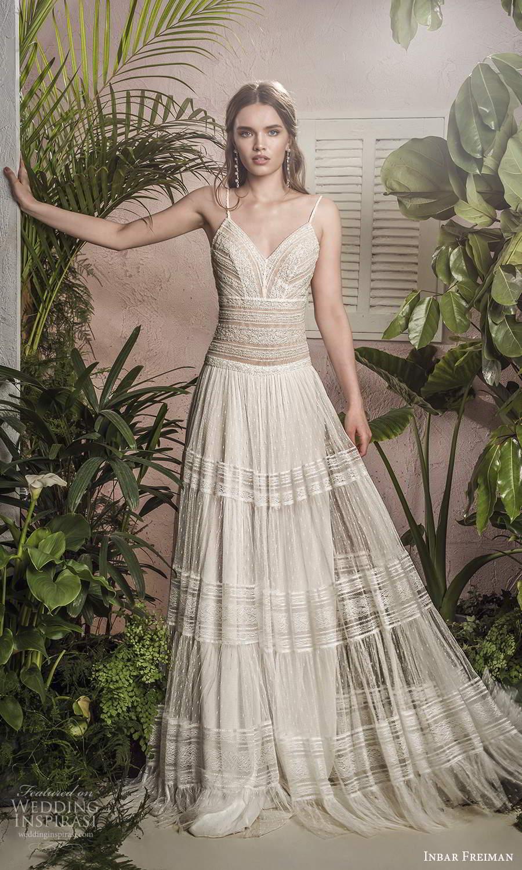 inbar freiman 2021 bridal sleeveless thin straps v neckline fully embellished lace boho a line wedding dress sweep train (7) mv
