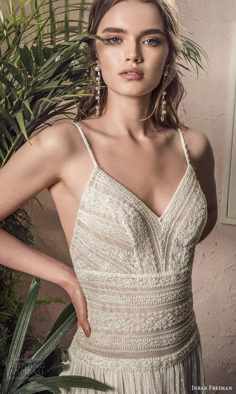 inbar freiman 2021 bridal sleeveless thin straps v neckline fully embellished lace boho a line wedding dress sweep train (7) zv