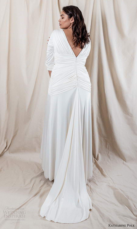 katharine polk 2021 bridal 3 quarter sleeve v neckline ruched bodice clean minimalist column wedding dress chapel train (5) bv