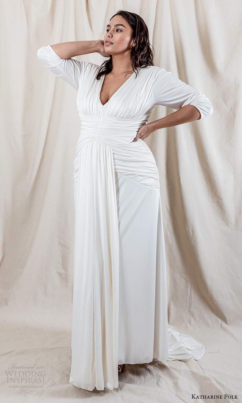 katharine polk 2021 bridal 3 quarter sleeve v neckline ruched bodice clean minimalist column wedding dress chapel train (5) mv