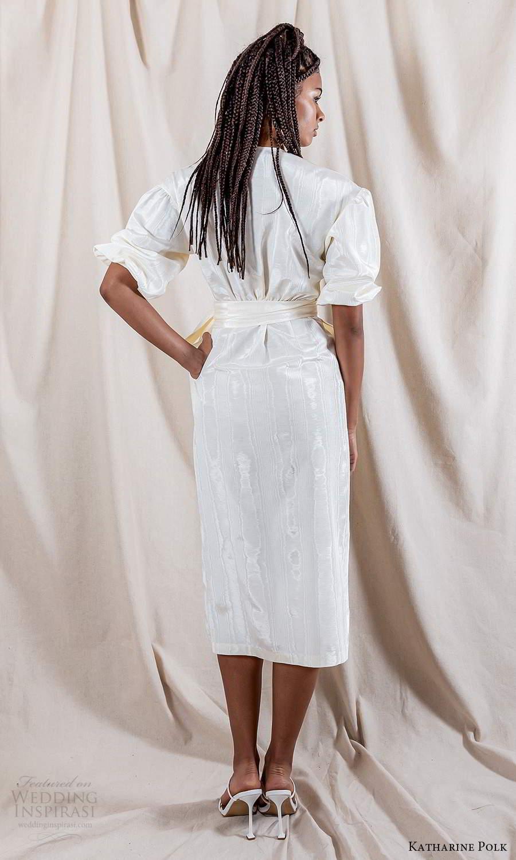 katharine polk 2021 bridal elbow length puff sleeve surplice v neckline wrap knee length wedding dress (8) bv