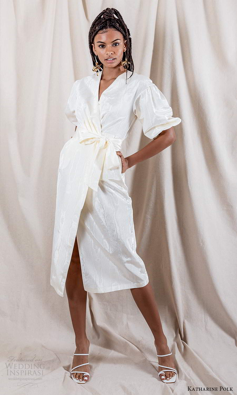 katharine polk 2021 bridal elbow length puff sleeve surplice v neckline wrap knee length wedding dress (8) mv