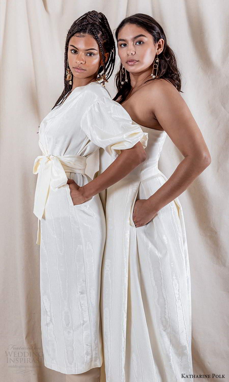 katharine polk 2021 bridal elbow length puff sleeve surplice v neckline wrap knee length wedding dress (8) sv