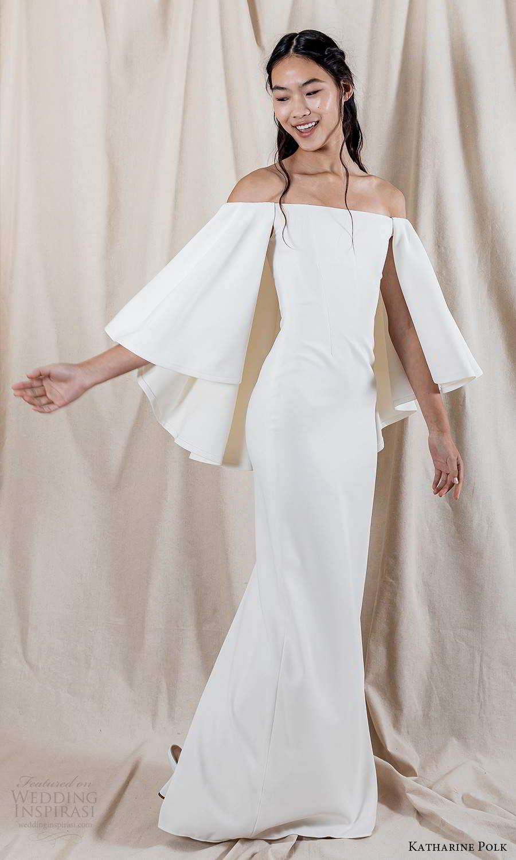 katharine polk 2021 bridal flare long sleeves off shoulder straight across neckline clean minimalist sheath wedding dress (3) mv