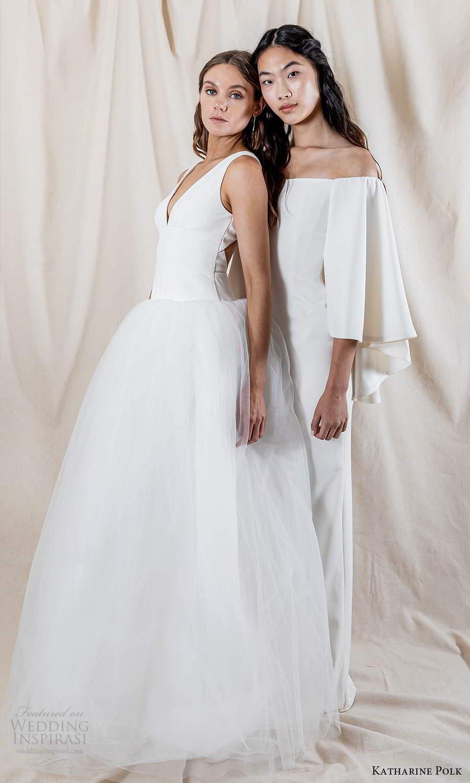katharine polk 2021 bridal flare long sleeves off shoulder straight across neckline clean minimalist sheath wedding dress (3) sv
