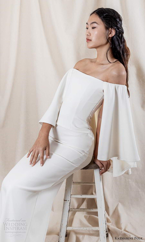 katharine polk 2021 bridal flare long sleeves off shoulder straight across neckline clean minimalist sheath wedding dress (3) zv