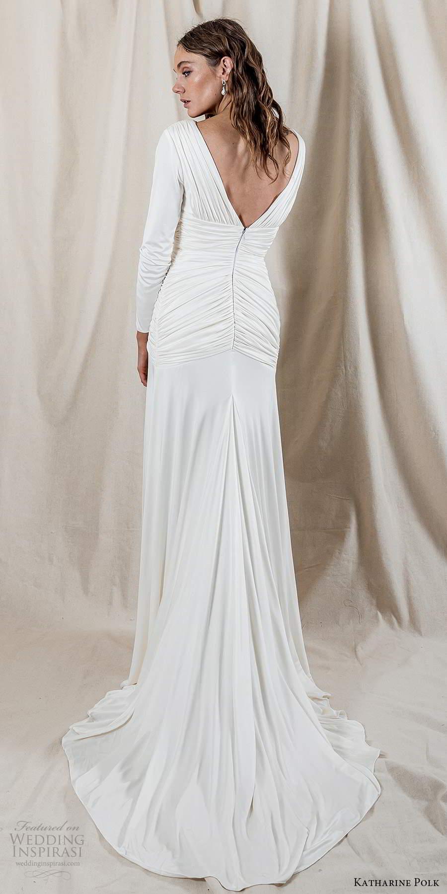 katharine polk 2021 bridal long sleeve v neckline ruched bodice clean minimalist column wedding dress chapel train (5) bv