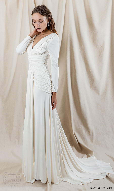 katharine polk 2021 bridal long sleeve v neckline ruched bodice clean minimalist column wedding dress chapel train (5) mv