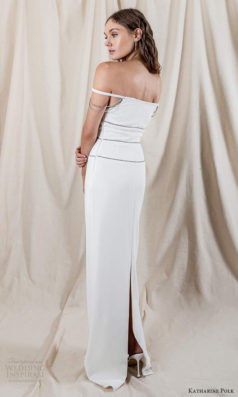 katharine polk 2021 bridal off shoulder straps staight across neckline minimalist column wedding dress slit back (2) bv