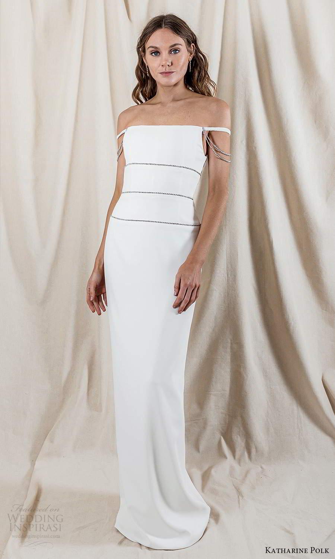 katharine polk 2021 bridal off shoulder straps staight across neckline minimalist column wedding dress slit back (2) mv