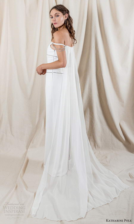 katharine polk 2021 bridal off shoulder straps staight across neckline minimalist column wedding dress slit back cape (2) bv