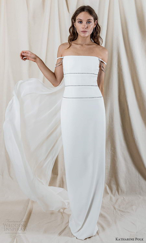 katharine polk 2021 bridal off shoulder straps staight across neckline minimalist column wedding dress slit back cape (2) fv