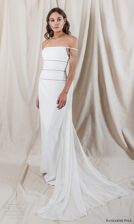 katharine polk 2021 bridal off shoulder straps staight across neckline minimalist column wedding dress slit back cape (2) mv