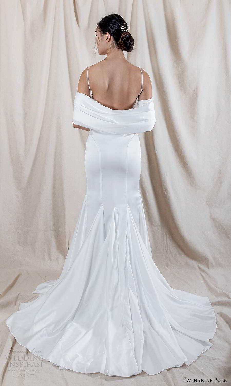 katharine polk 2021 bridal off shoulder swag sleeve spaghetti straps sweetheart neckline clean minimalist fit flare mermaid wedding dress chapel train (6) bv