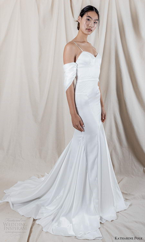 katharine polk 2021 bridal off shoulder swag sleeve spaghetti straps sweetheart neckline clean minimalist fit flare mermaid wedding dress chapel train (6) mv