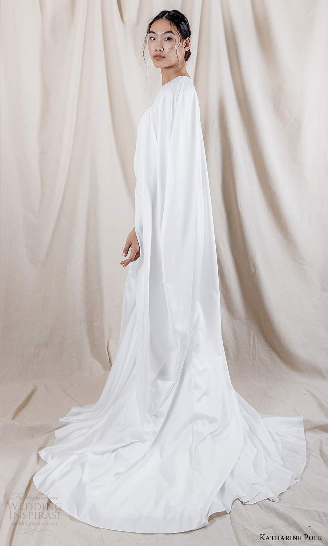 katharine polk 2021 bridal off shoulder swag sleeve spaghetti straps sweetheart neckline clean minimalist fit flare mermaid wedding dress chapel train cape (6) bv