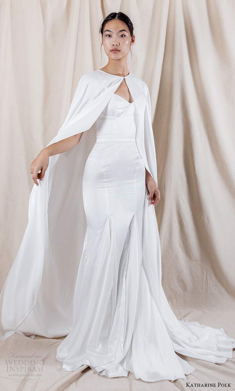 katharine polk 2021 bridal off shoulder swag sleeve spaghetti straps sweetheart neckline clean minimalist fit flare mermaid wedding dress chapel train cape (6) mv