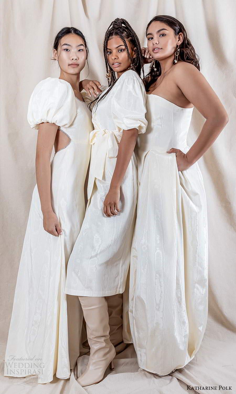 katharine polk 2021 bridal puff sleeve clean minimalist wedding dresses (0) mv