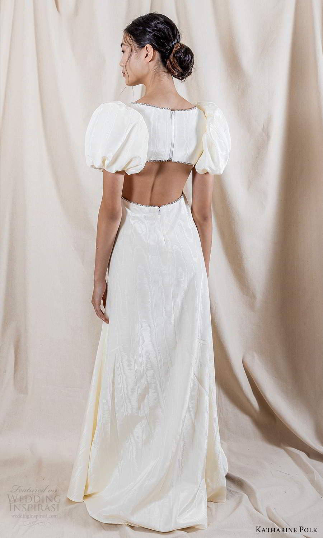 katharine polk 2021 bridal short puff sleeves jewel neckline minimalist clean a line wedding dress cutout back (7) bv