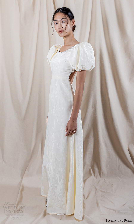 katharine polk 2021 bridal short puff sleeves jewel neckline minimalist clean a line wedding dress cutout back (7) mv