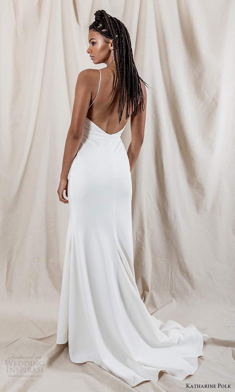 katharine polk 2021 bridal sleeveless spaghetti straps v neckline embellished bodice clean skirt sheath mermaid wedding dress sweep train (1) bv