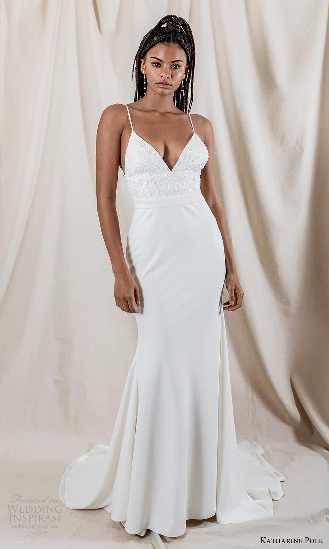 katharine polk 2021 bridal sleeveless spaghetti straps v neckline embellished bodice clean skirt sheath mermaid wedding dress sweep train (1) mv
