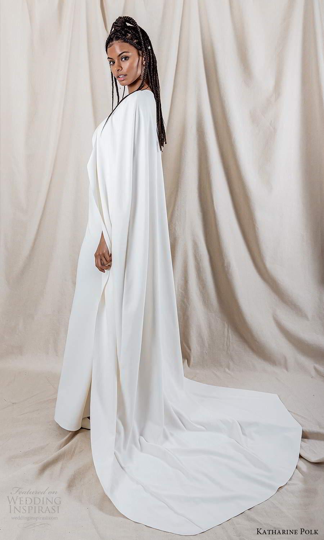 katharine polk 2021 bridal sleeveless spaghetti straps v neckline embellished bodice clean skirt sheath mermaid wedding dress sweep train cape (1) bv