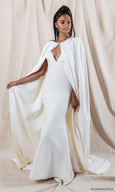 katharine polk 2021 bridal sleeveless spaghetti straps v neckline embellished bodice clean skirt sheath mermaid wedding dress sweep train cape (1) mv