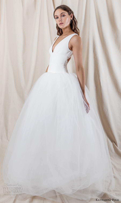 katharine polk 2021 bridal sleeveless straps v neckline clean minimalist drop waist ball gown wedding dress chapel train (4) mv