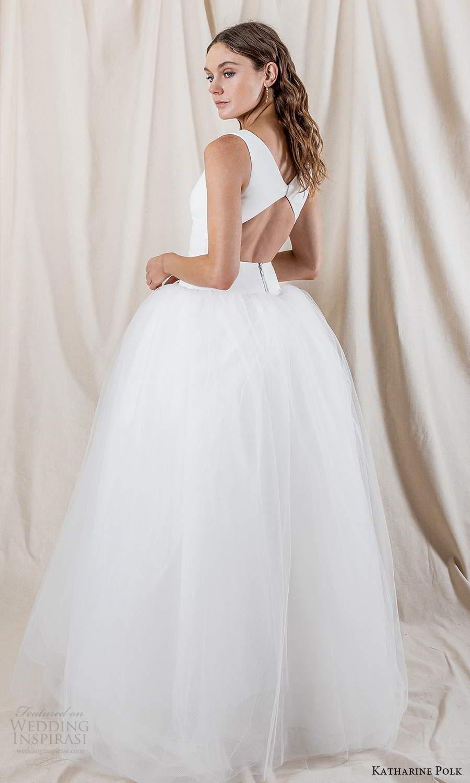 katharine polk 2021 bridal sleeveless straps v neckline clean minimalist drop waist ball gown wedding dress chapel train keyhole back (4) bv