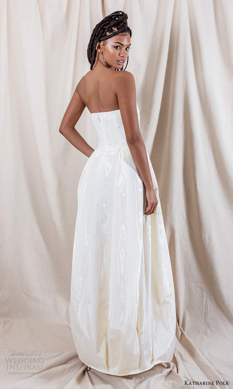 katharine polk 2021 bridal strapless straight across neckline clean minimalist a line ball gown wedding dress pockets (9) bv