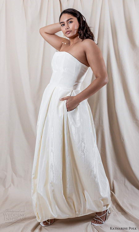 katharine polk 2021 bridal strapless straight across neckline clean minimalist a line ball gown wedding dress pockets (9) mv