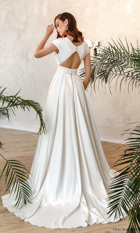 oleg baburow fall 2021 bridal cap sleeves plunging surplice v neckline clean minimalist a line wedding dress slit skirt chapel train keyhole back (10) bv