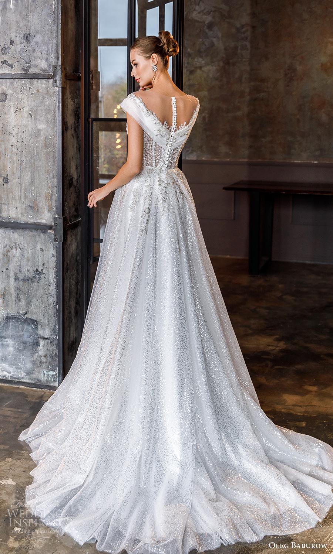 oleg baburow fall 2021 bridal cap sleeves straps off shoulder neckline fully embellished a line ball gown wedding dress chapel train (14) bv