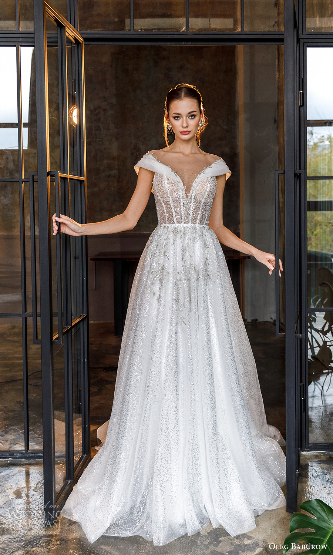 oleg baburow fall 2021 bridal cap sleeves straps off shoulder neckline fully embellished a line ball gown wedding dress chapel train (14) mv
