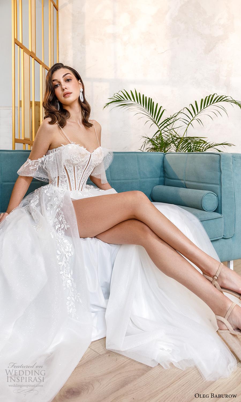 oleg baburow fall 2021 bridal cold shoulder straps sweetheart neckline embellished lace bodice a line wedding dress slit skirt (3) mv
