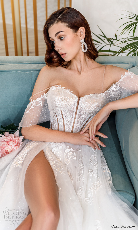 oleg baburow fall 2021 bridal cold shoulder straps sweetheart neckline embellished lace bodice a line wedding dress slit skirt (3) zv