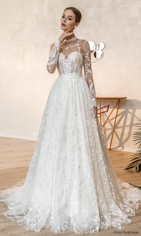 oleg baburow fall 2021 bridal illusion long sleeves sheer high neck sweetheart neckline fully embellished a line ball gown wedding dress chapel train (6) mv