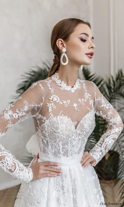 oleg baburow fall 2021 bridal illusion long sleeves sheer high neck sweetheart neckline fully embellished a line ball gown wedding dress chapel train (6) zv