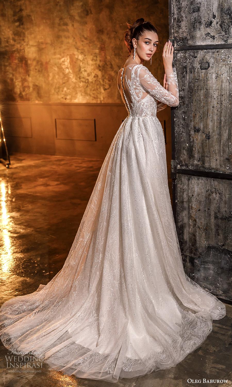 oleg baburow fall 2021 bridal illusion long sleeves sweetheart neckline fully embellished a line ball gown wedding dress chapel train (21) bv