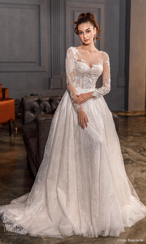 oleg baburow fall 2021 bridal illusion long sleeves sweetheart neckline fully embellished a line ball gown wedding dress chapel train (21) mv