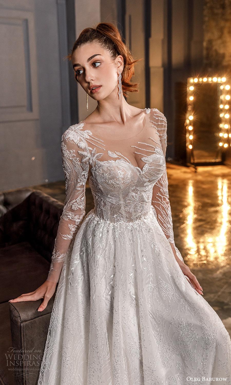 oleg baburow fall 2021 bridal illusion long sleeves sweetheart neckline fully embellished a line ball gown wedding dress chapel train (21) zv