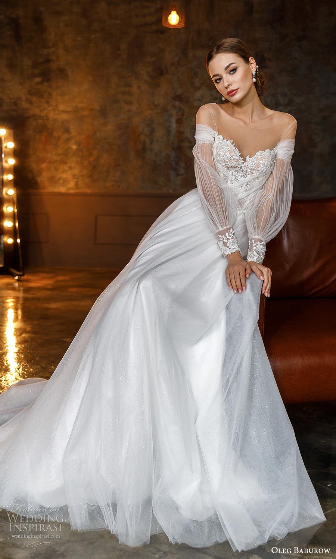 oleg baburow fall 2021 bridal long bishop sleeves off shoulder sweetheart neckline heavily embellished bodice a line ball gown wedding dress chapel train (12) mv