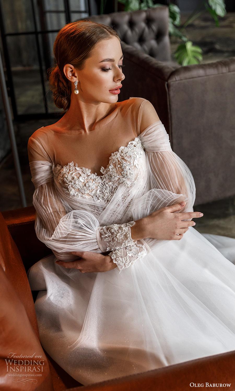 oleg baburow fall 2021 bridal long bishop sleeves off shoulder sweetheart neckline heavily embellished bodice a line ball gown wedding dress chapel train (12) zv