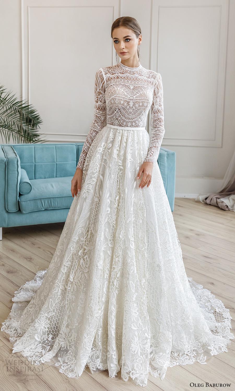 oleg baburow fall 2021 bridal long sleeves jewel neckline fully embellished a line ball gown wedding dress chapel train (2) mv
