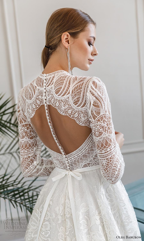 oleg baburow fall 2021 bridal long sleeves jewel neckline fully embellished a line ball gown wedding dress chapel train (2) zbv